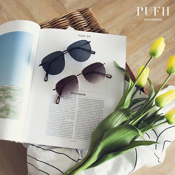 PUFII-眼鏡 細框架鏤空墨鏡太陽眼鏡-0418 現+預 春【CP16527】
