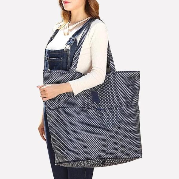 購物袋 超市折疊便攜手提購物袋單肩女大包簡約超大容量帆布防水環保袋子