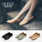 Queen Shop【05010345】簡約皮質平底鞋 三色售 22.5-24.5*現+預*