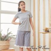 【Tiara Tiara】休閒棉質短袖上衣x格紋緹花五分褲(灰上衣+藍褲子/灰上衣+黑褲子)