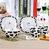 奶牛碗碟套裝陶瓷餐具 家用骨瓷碗盤碟 韓式套碗卡通創意情侶碗筷   夢曼森居家