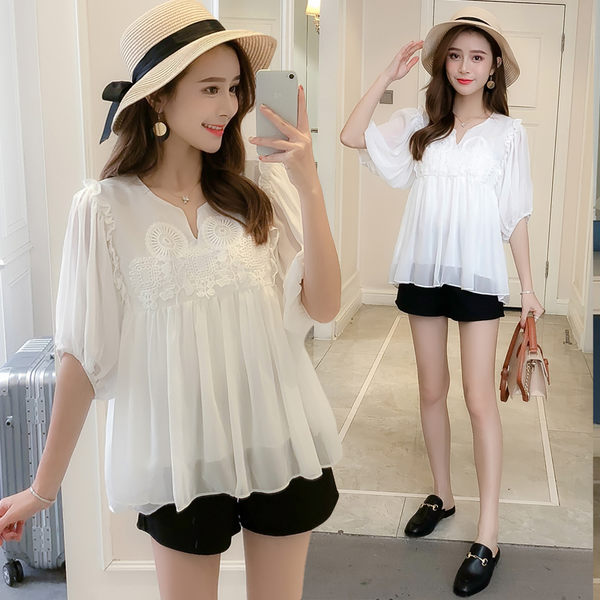 VK精品服飾 韓國風蕾絲拼接燈籠袖雪紡衫娃娃衫短袖上衣