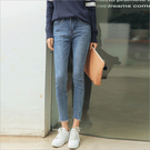 韓版 刷白牛仔褲 褲腳毛邊 顯瘦 直筒 抽鬚 流蘇 單寧 丹寧牛仔褲 牛仔長褲
