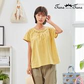 【Tiara Tiara】百貨同步新品aw全  圓領繡花格紋上衣(白/綠/黃)