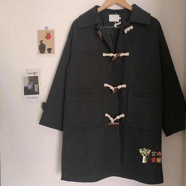 牛角釦大衣 小個子牛角釦中長款外套女冬季新款大衣日系T