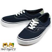 VANS 藍色 夜光格子 低筒 鞋帶款帆布鞋 中童鞋 NO.Q8630