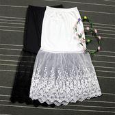 內搭襯裙高腰半身裙春秋新品中長版大尺碼包臀網紗襯裙女內搭黑色蕾絲打底裙S-XL(限時八八折)