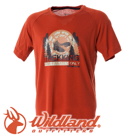 【Wildland 荒野 男款 圓領印花棉感抗UV上衣《橘》】0A51610/春夏款/棉T/短袖/短T/T恤