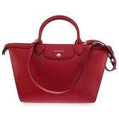 LONGCHAMP Le Pliage Heritage全牛皮大型手提肩背水餃包(紅色)480602-2