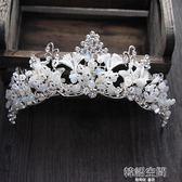 歐式巴羅克高端新娘頭飾銀色手工水晶皇冠發飾結婚紗配飾品 韓語空間