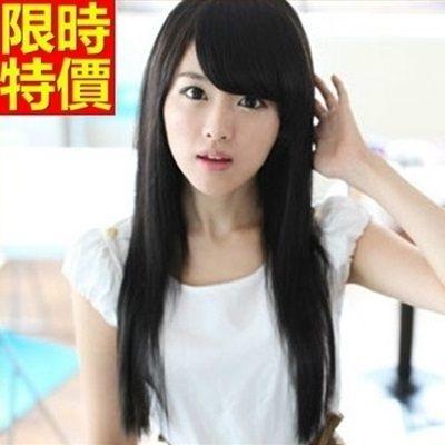 長假髮-優雅氣質直長髮斜瀏海女美髮用品3色69o54【巴黎精品】