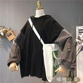 新款2018秋季韓版女裝寬鬆大碼學生上衣牛仔拼接袖連帽長袖衛衣潮 嬌糖小屋