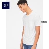 Gap男裝 休閒直筒圓領短袖口袋T恤 440850-光感白