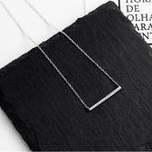 項鍊 簡約一字鋯石 925銀鏈 鎖骨鏈