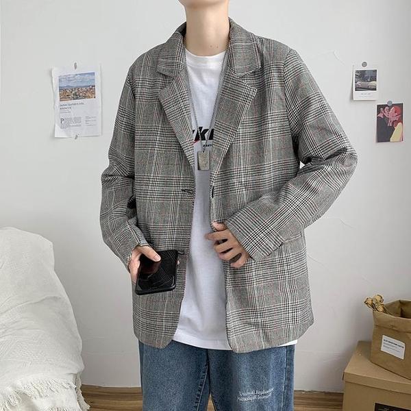 西裝外套 秋季港風ins復古格子西裝外套男2021新款韓版潮流帥氣休閒小西服  夏季新品