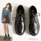 牛津鞋 英倫單鞋女2019新款秋季韓版學院風中跟粗跟黑色小皮鞋女工作鞋潮