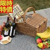 野餐籃 餐具組合-戶外旅行四人份郊遊用品68e22【時尚巴黎】