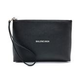 【台中米蘭站】全新品 BALENCIAGA 品牌Logo牛皮手拿包(593815-黑)