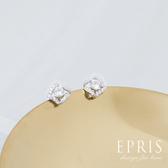 女生飾品 簡約方鑽 耳環 純銀耳環
