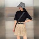 半高領半截短袖女款純色設計感小眾五分中袖T恤上衣夏打底針織衫-Milano米蘭
