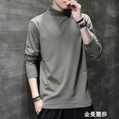 長袖t恤男純棉純色灰色半高領內搭打底衫中領秋季潮流秋衣上衣服 雙十二全館免運
