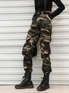 迷彩褲 迷彩工裝褲女秋季新款帥氣軍褲寬鬆bf束腳顯瘦高腰嘻哈潮ins九分  快速出貨