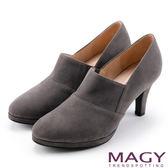 MAGY 紐約時尚步調 高質感復古絨布踝靴-灰色