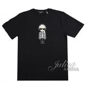 茱麗葉精品【全新現貨】KARL LAGERFELD 卡爾 嘻哈西裝風印花造型棉質短T恤.黑