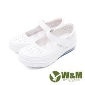 W&M(女)氣墊舒適魔鬼氈款護士鞋 娃娃鞋 女鞋-白