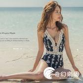 連體泳衣-女連體游泳衣性感露背修身顯瘦遮肚蕾絲邊泳裝-奇幻樂園