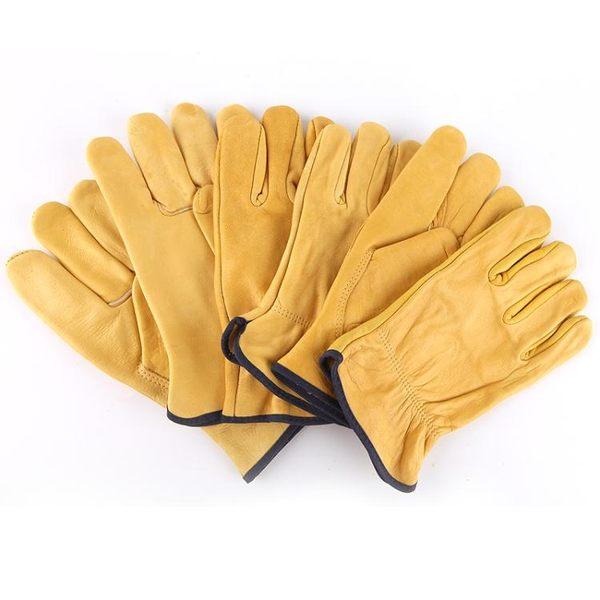 電焊手套牛皮焊工耐磨防護手套短皮柔軟隔熱防高溫工業勞保手套    電購3C
