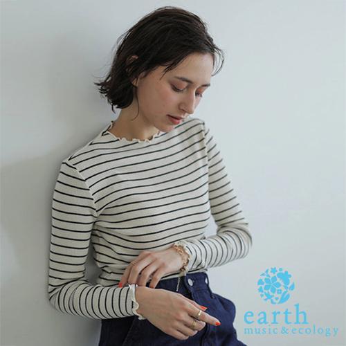 「Hot item」經典橫條紋抓皺領上衣 - earth music&ecology