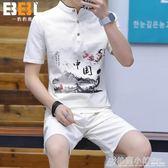 中國風唐裝男士棉麻短袖套裝青年亞麻t恤上衣中式漢服短褲潮 格蘭小舖