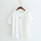 短袖T恤-圓領簡約星星刺繡休閒女上衣2色73sy18【巴黎精品】