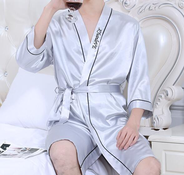 夏季男士睡袍冰絲睡衣長袖浴袍絲綢薄款家居服短袖新款春秋款大碼 蘇菲小店