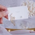 耳釘 2020新款精致流蘇閃鉆鋯石珍珠耳釘超仙女氣質耳骨夾一體式耳環女 vk4314