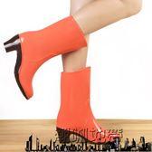 出口春夏季可加絨雨鞋女雨靴高跟中筒水鞋套鞋加棉保暖雪地水靴【潮咖地帶】