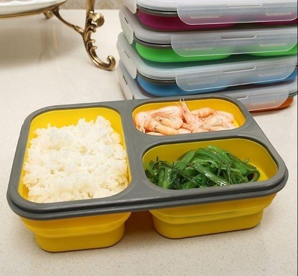 【外食必備】折疊便當三格餐盒 攜帶式折疊餐盒保溫盒 折疊保鮮盒 野餐 露營必備 耐熱