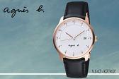 【時間道】[agnes b。錶]手寫數字三眼時計經典腕錶/白面黑皮(VJ42-KZ30Z/BS9001J1)免運費