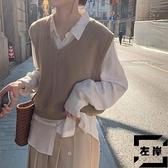 馬甲背心外穿女秋款寬鬆短款無袖針織日系毛衣外套【左岸男裝】