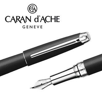 CARAN d'ACHE 瑞士卡達 LEMAN 利曼霧黑漆鋼筆(銀夾)-F / 支