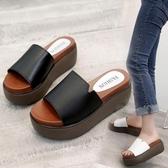 拖鞋女外穿ins潮涼拖百搭女鞋2020新款夏季網紅厚底鬆糕鞋增高跟「艾瑞斯居家生活」