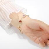 【新飾界】天然晶石手鍊女純銀七彩轉運珠水晶手串