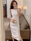 無袖洋裝白色吊帶連身裙女夏裝2021新款輕熟風設計感小眾名媛氣質無袖長裙 JUST M