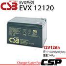 CSB EVX12120(12V12AH)) 深循環 UPS 逃生燈 方向指示燈 同於BP12-12 CP12120 EVP12-12 GP-12120