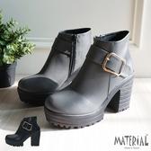 短靴 側方扣厚底短靴 MA女鞋 T7760