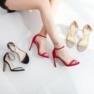 夏季新款一字扣帶涼鞋女細跟露趾氣質高跟鞋真皮女鞋小碼 果果輕時尚