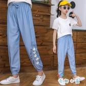 女童長褲冰絲牛仔薄款夏季兒童純棉褲子休閒運動夏裝【奇趣小屋】