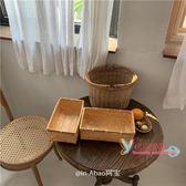 竹編野餐籃 阿寶-自製韓國ins風日式手工編織竹編籃水果籃收納籃野餐便當盒T