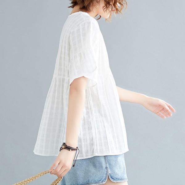 大碼T恤 2020夏季新款韓版大碼寬鬆圓領短袖T恤女胖mm高腰顯瘦遮肚子上衣